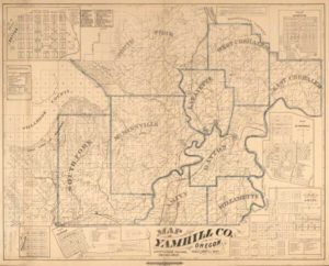 Map of Yamhill County, Oregon circa 1879